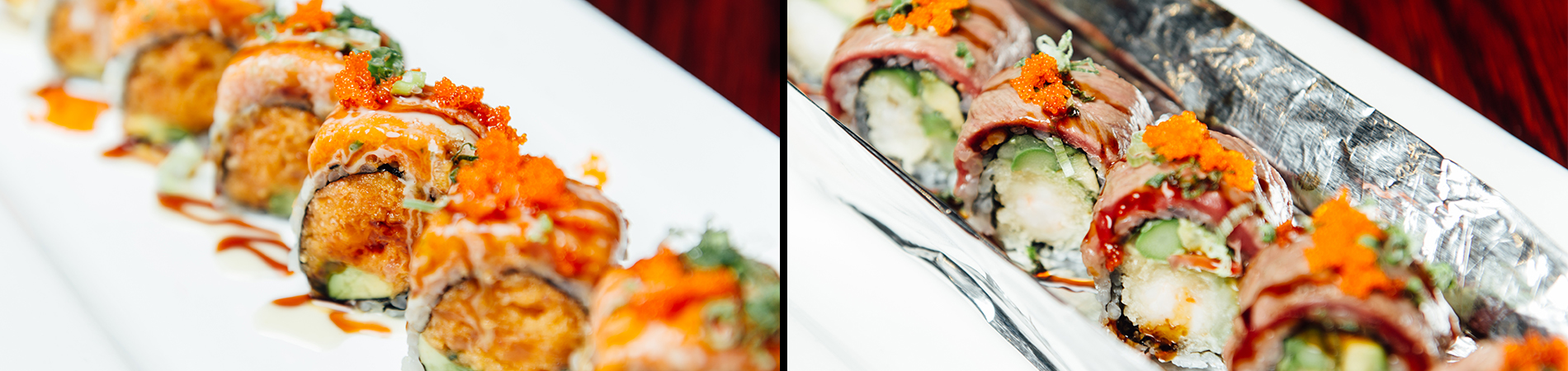 Two different delicious sushi rolls