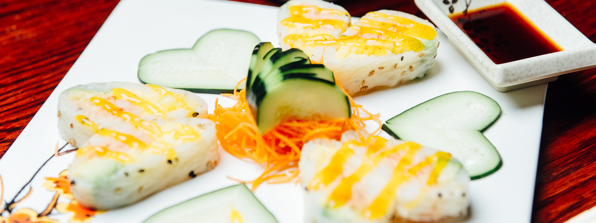 Decorated cucumbers and sushi